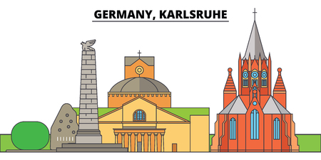 Germany, Karlsruhe. City skyline, architecture, buildings, streets, silhouette, landscape, panorama, landmarks, icons. Editable strokes. Flat design line vector illustration concept