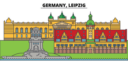 Germany, Leipzig. City skyline, architecture, buildings, streets, silhouette, landscape, panorama, landmarks, icons. Editable strokes. Flat design line vector illustration concept Illusztráció