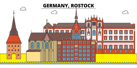 Germany, Rostock. City skyline, architecture, buildings, streets, silhouette, landscape, panorama, landmarks, icons. Editable strokes. Flat design line vector illustration concept