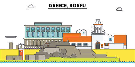 Greece, Korfu. City skyline, architecture, buildings, streets, silhouette, landscape, panorama, landmarks, icons. Editable strokes. Flat design line vector illustration concept Illusztráció