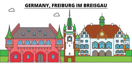 Germany, Freiburg Im Breisgau. City skyline, architecture, buildings, streets, silhouette, landscape, panorama, landmarks, icons. Editable strokes. Flat design line vector illustration concept Çizim