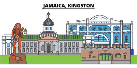 Jamaica, Kingston. City skyline, architecture, buildings, streets, silhouette, landscape, panorama, landmarks, icons. Editable strokes. Flat design line vector illustration concept Illustration