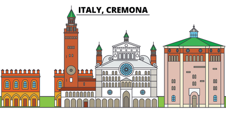 Italy, Cremona. City skyline, architecture, buildings, streets, silhouette, landscape, panorama, landmarks, icons. Editable strokes. Flat design line vector illustration concept