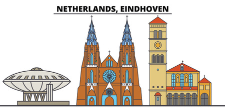 Netherlands, Eindhoven. City skyline, architecture, buildings, streets, silhouette, landscape, panorama, landmarks, icons. Editable strokes. Flat design line vector illustration concept