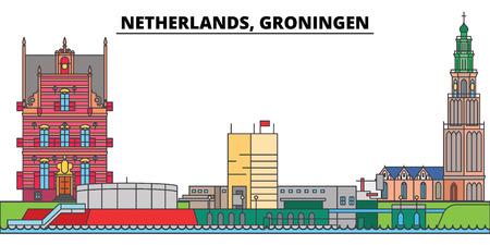 Netherlands, Groningen. City skyline, architecture, buildings, streets, silhouette, landscape, panorama, landmarks, icons. Editable strokes. Flat design line vector illustration concept Иллюстрация