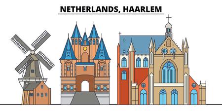 Netherlands, Haarlem. City skyline, architecture, buildings, streets, silhouette, landscape, panorama, landmarks, icons. Editable strokes. Flat design line vector illustration concept