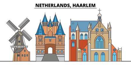 Netherlands, Haarlem. City skyline, architecture, buildings, streets, silhouette, landscape, panorama, landmarks, icons. Editable strokes. Flat design line vector illustration concept 版權商用圖片 - 100543047