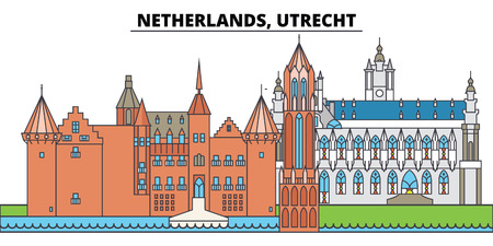 Netherlands, Utrecht. City skyline, architecture, buildings, streets, silhouette, landscape, panorama, landmarks, icons. Editable strokes. Flat design line vector illustration concept Illustration