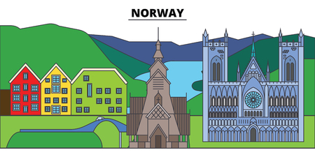 Norway. City skyline, architecture, buildings, streets, silhouette, landscape, panorama, landmarks, icons. Editable strokes. Flat design line vector illustration concept 일러스트