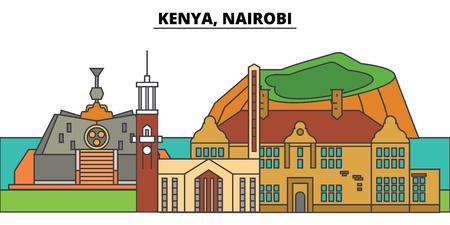Kenya, Nairobi. City skyline, architecture, buildings, streets, silhouette, landscape, panorama, landmarks, icons. Editable strokes. Flat design line vector illustration concept 일러스트
