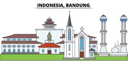 Indonesia, Bandung. City skyline, architecture, buildings, streets, silhouette, landscape, panorama, landmarks, icons. Editable strokes. Flat design line vector illustration concept