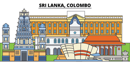 Sri Lanka, Colombo. City skyline, architecture, buildings, streets, silhouette, landscape, panorama, landmarks, icons. Editable strokes. Flat design line vector illustration concept