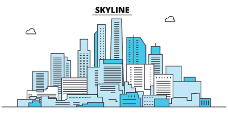 Abstract skyline. City skyline, architecture, buildings, streets, silhouette, landscape, panorama, landmarks, icons. Editable strokes. Flat design line vector illustration concept