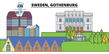 Sweden, Gothenburg. City skyline, architecture, buildings, streets, silhouette, landscape, panorama, landmarks, icons. Editable strokes. Flat design line vector illustration concept