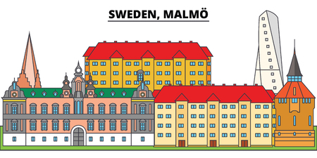 Sweden, Malmo. City skyline, architecture, buildings, streets, silhouette, landscape, panorama, landmarks, icons. Editable strokes. Flat design line vector illustration concept Standard-Bild - 100543386