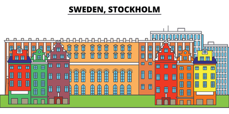 Sweden, Stockholm. City skyline, architecture, buildings, streets, silhouette, landscape, panorama, landmarks, icons. Editable strokes. Flat design line vector illustration concept Ilustração
