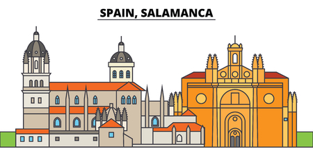 Spain, Salamanca. City skyline, architecture, buildings, streets, silhouette, landscape, panorama, landmarks, icons. Editable strokes. Flat design line vector illustration concept