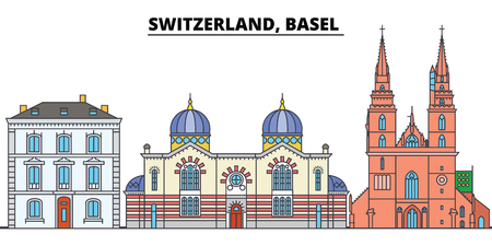 Switzerland, Basel . City skyline, architecture, buildings, streets, silhouette, landscape, panorama, landmarks, icons. Editable strokes. Flat design line vector illustration concept