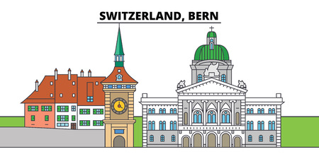 Switzerland, Bern. City skyline, architecture, buildings, streets, silhouette, landscape, panorama, landmarks, icons. Editable strokes. Flat design line vector illustration concept Illusztráció