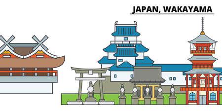 Japan, Wakayama. City skyline, architecture, buildings, streets, silhouette, landscape, panorama, landmarks, icons. Editable strokes. Flat design line vector illustration concept