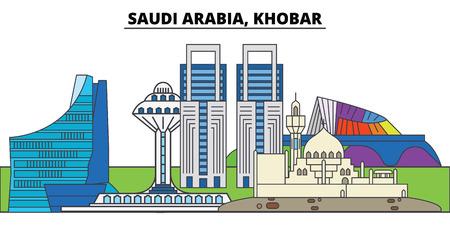 Saudi Arabia, Khobar. City skyline, architecture, buildings, streets, silhouette, landscape, panorama, landmarks, icons. Editable strokes. Flat design line vector illustration concept 스톡 콘텐츠