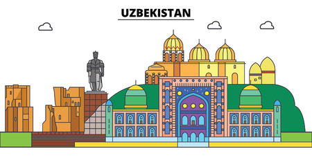 Uzbekistan. City skyline, architecture, buildings, streets, silhouette, landscape, panorama, landmarks, icons. Editable strokes. Flat design line vector illustration concept Stock Photo