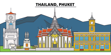Thailand, Phuket. City skyline, architecture, buildings, streets, silhouette, landscape, panorama, landmarks, icons. Editable strokes. Flat design line vector illustration concept