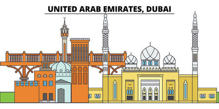 United Arab Emirates, Dubai. City skyline, architecture, buildings, streets, silhouette, landscape, panorama, landmarks, icons. Editable strokes. Flat design line vector illustration concept Imagens