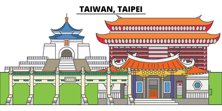 Taiwan, Taipei. City skyline, architecture, buildings, streets, silhouette, landscape, panorama, landmarks, icons. Editable strokes. Flat design line vector illustration concept