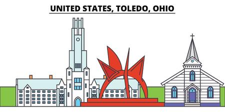United States, Toledo, Ohio. City skyline, architecture, buildings, streets, silhouette, landscape, panorama, landmarks, icons. Editable strokes. Flat design line vector illustration concept Stock Photo