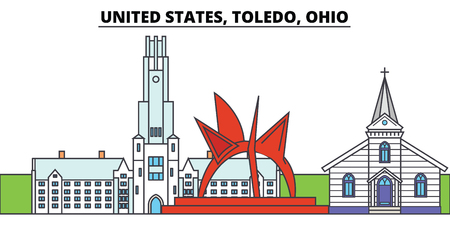 United States, Toledo, Ohio. City skyline, architecture, buildings, streets, silhouette, landscape, panorama, landmarks, icons. Editable strokes. Flat design line vector illustration concept 스톡 콘텐츠