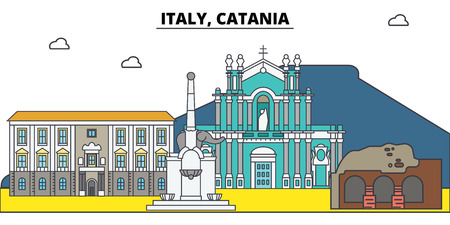 Italy, Catania. City skyline, architecture, buildings, streets, silhouette, landscape, panorama, landmarks, icons. Editable strokes. Flat design line vector illustration concept