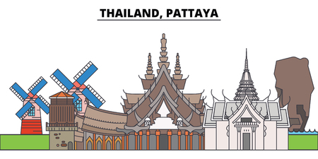 Thailand, Pattaya. City skyline, architecture, buildings, streets, silhouette, landscape, panorama, landmarks, icons. Editable strokes. Flat design line vector illustration concept