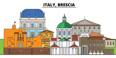 Italy, Brescia. City skyline, architecture, buildings, streets, silhouette, landscape, panorama, landmarks, icons. Editable strokes. Flat design line vector illustration concept