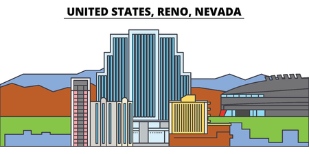 United States, Reno, Nevada. City skyline, architecture, buildings, streets, silhouette, landscape, panorama, landmarks, icons. Editable strokes. Flat design line vector illustration concept