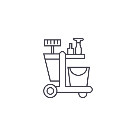 cleaning trolley vector line icon, sign, illustration on white background, editable strokes