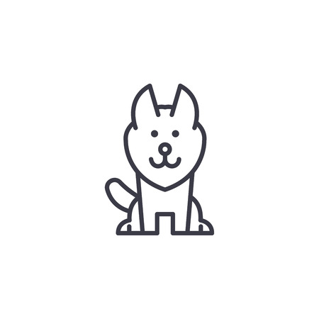 alaskan malamute vector line icon, sign, illustration on white background, editable strokes Stock Vector - 100816125