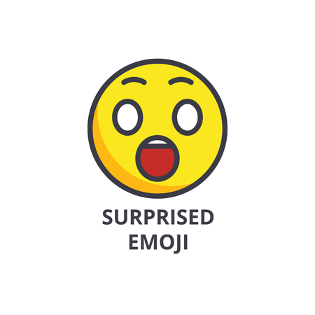 amusing emoji vector line icon, sign, illustration on white background, editable strokes  イラスト・ベクター素材