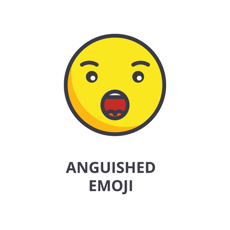 anguished emoji vector line icon, sign, illustration on white background, editable strokes 向量圖像