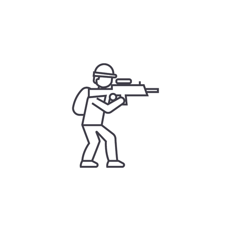 aiming soldier vector line icon, sign, illustration on white background, editable strokes