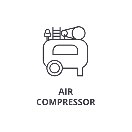 air compressor vector line icon, sign, illustration on white background, editable strokes Illustration
