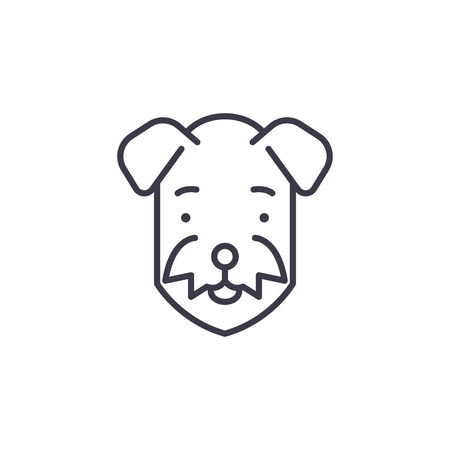 airedale  vector line icon, sign, illustration on white background, editable strokes