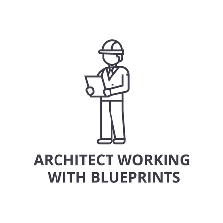 architect working with blueprints vector line icon, sign, illustration on white background, editable strokes