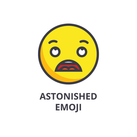 astonished emoji vector line icon, sign, illustration on white background, editable strokes