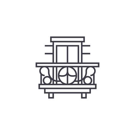 balcony, terrace vector line icon, sign, illustration on white background, editable strokes