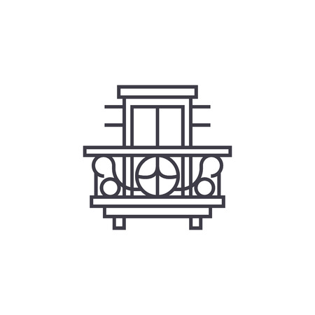 balcony, terrace vector line icon, sign, illustration on white background, editable strokes