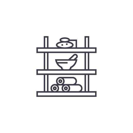 bathroom shelf vector line icon, sign, illustration on white background, editable strokes