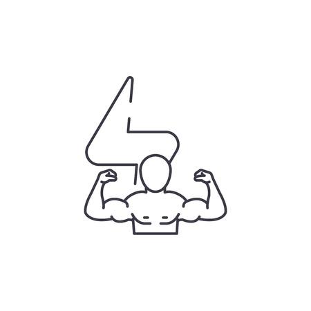 bodybuilder vector line icon, sign, illustration on white background, editable strokes Standard-Bild - 100824897