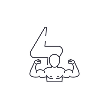 bodybuilder vector line icon, sign, illustration on white background, editable strokes