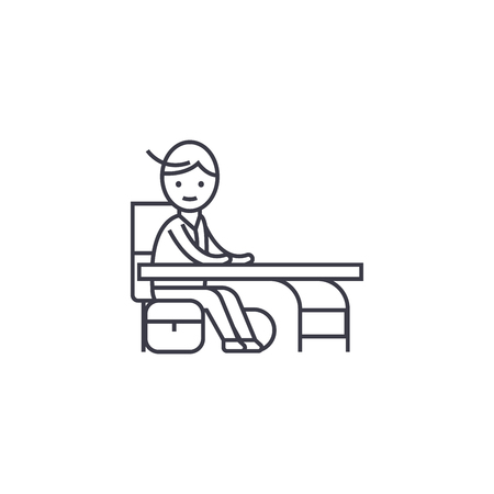 boy at a desk vector line icon, sign, illustration on white background, editable strokes